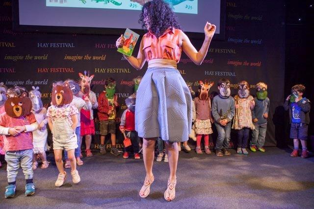 """""""I'll SING with rhinos, and DANCE on my toes!"""" Little ones stampede the stage in a sold-out session on  Kangaroo Kisses at the Hay Festival  June 4, 2016"""
