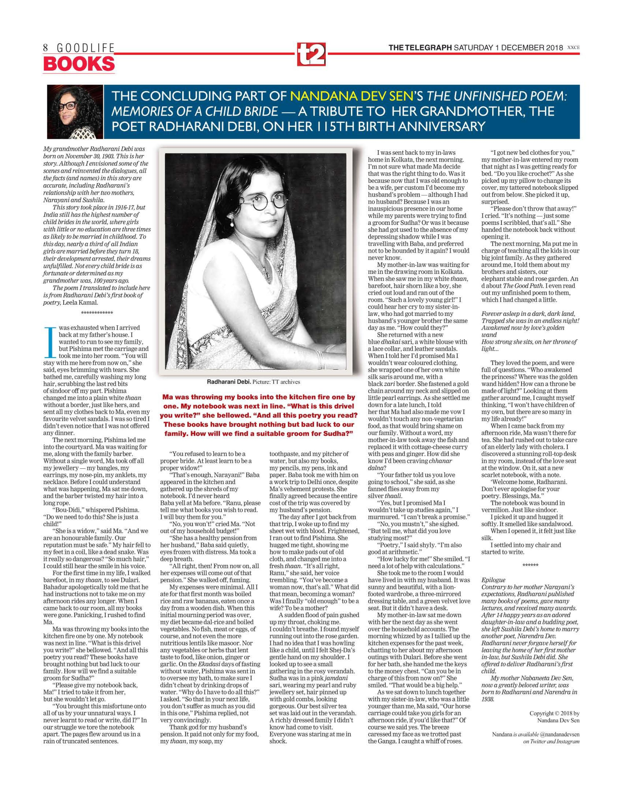 The Unfinished Poem: Memories of a Child Bride  - click here for Part III  Telegraph India December 1, 2018