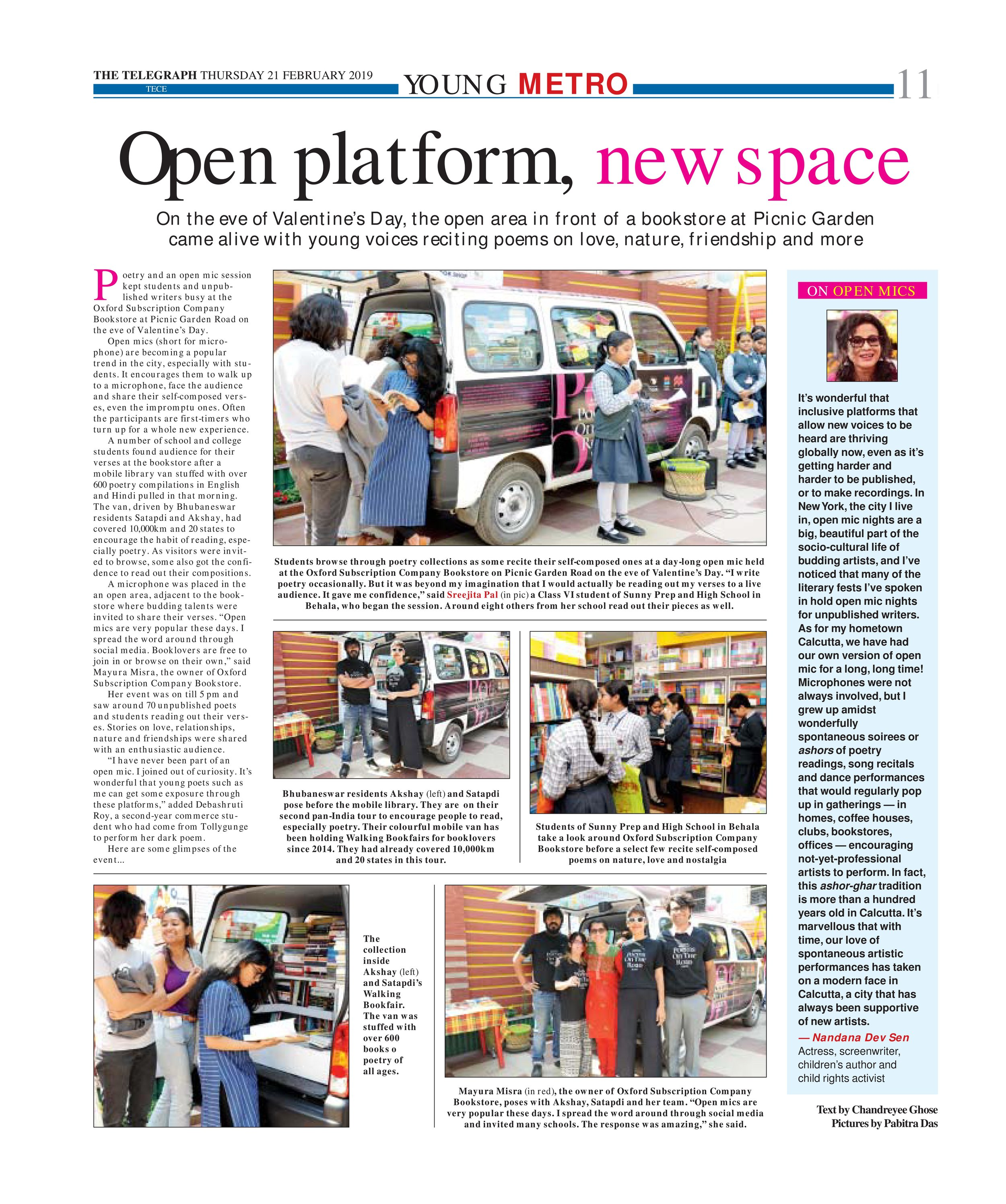 Open mic sessions offer voice to the unpublished - click for full story  The Telegraph, February 21, 2019