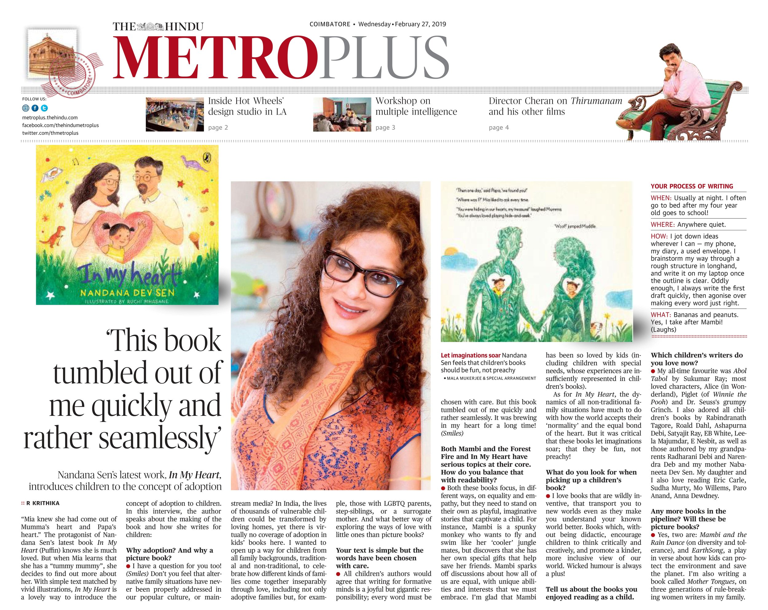 The Hindu Metro Press -  click for story  February 27, 2019
