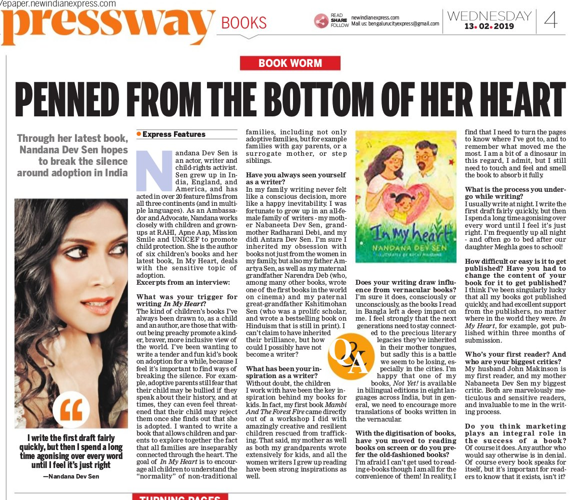 Penned from the Bottom of her Heart  (click for article) New India Express, February 13, 2019