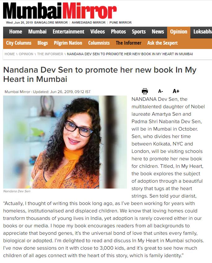 Mumbai Mirror -  click here for full article (external website)   June 26, 2019