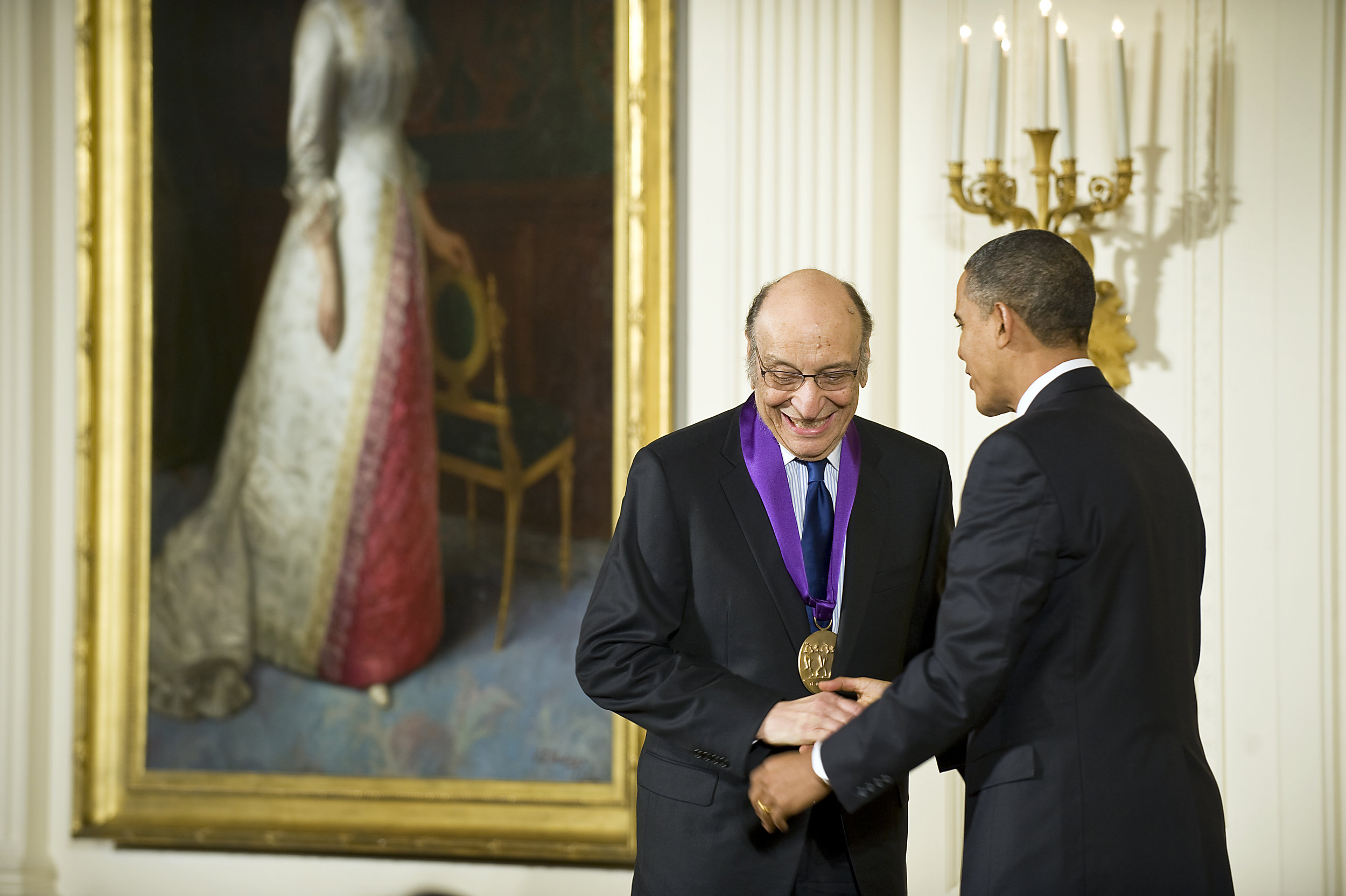 Milton Glaser receiving the National Medal of Arts Award From President Obama