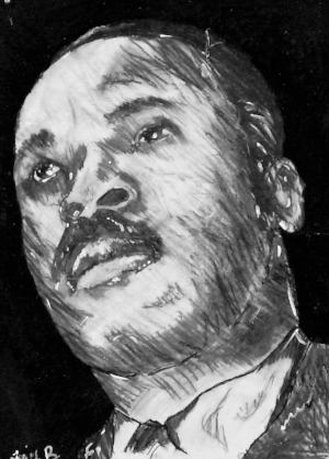 Student Work of Dr. Martin Luther King Jr. Pencils, markers and black ink