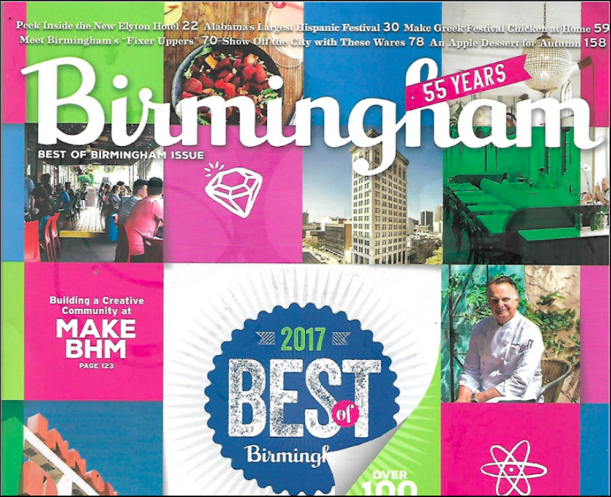 BEST OF BIRMINGHAM 2017    Birmingham Magazine, September 2017    Read More