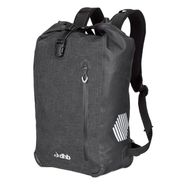 dhb Waterproof Rucksack 25L    Price: £49.99   Tested in truly torrential rain, this dhb Waterproof Rucksack 25L is roomy enough to hold life and laptop and really does repel the wet.