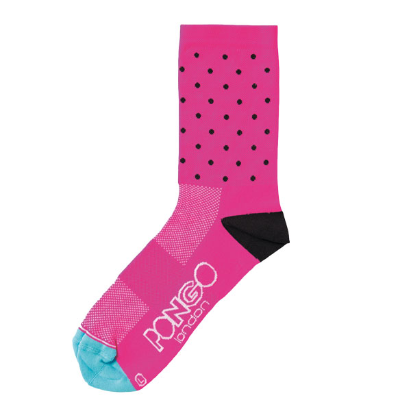 PONGO Pink Dotty Cycling Socks   Price: £15  Pongo fluoro pink socks add an on-trend pop of colour to any kit. Note: Pongo stands for 'Passion On The Go' rather than stinky.