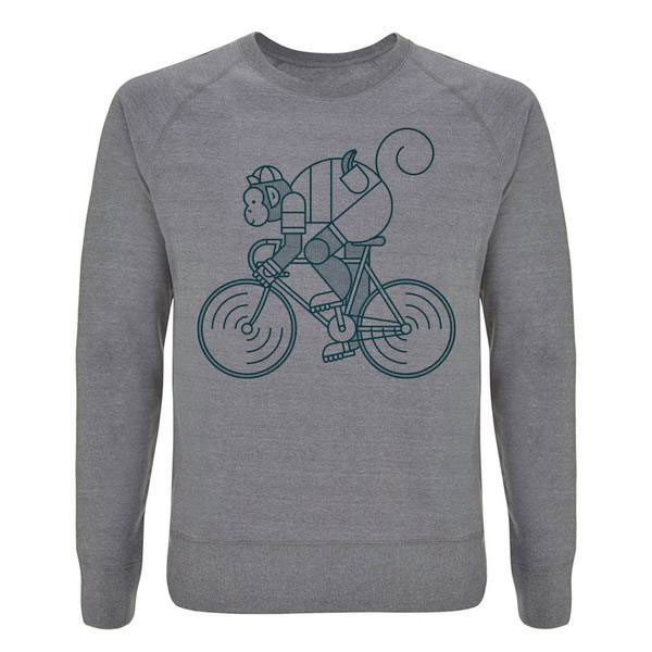 Chimpeur Unisex Recycled Sweatshirt    Price: £40   You can't beat a grey marl sweater for post-ride relax factor. Add cool seam detail and a cycling monkey and you tick all our boxes.