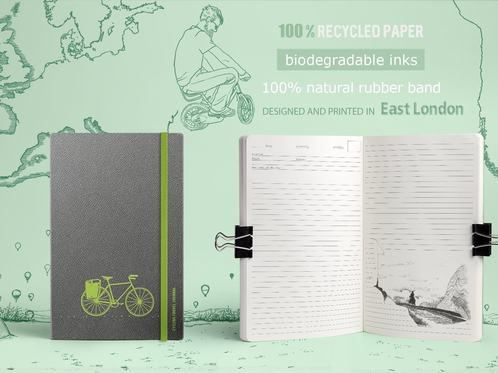 Cycling Travel Journal  £20  If your holidays are more about sights from the saddle than beach dwelling, this eco-friendly cycling travel journal makes an awesome gift. Designed by a cycle tourer and artist, it's a place for you to quickly and creatively capture your own adventures. It's also bursting with beautiful illustrations, recipes and motivational quotes, plus it's sustainably and ethically produced.