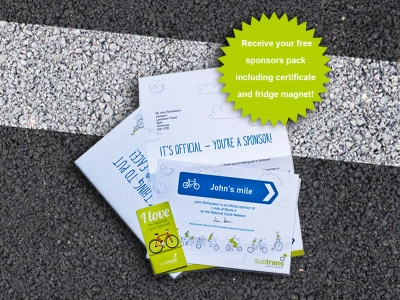 Sponsor a mile, Sustrans  £30  What do you give the cyclist that has everything (is that even possible)? What about a mile of your favourite cycling route to support Sustrans in keeping the cycle network open. Once you pick your favourite person's memorable mile on the map, they will receive a sponsors certificate, plus you can upload a photo and message telling everyone why you have chosen it.