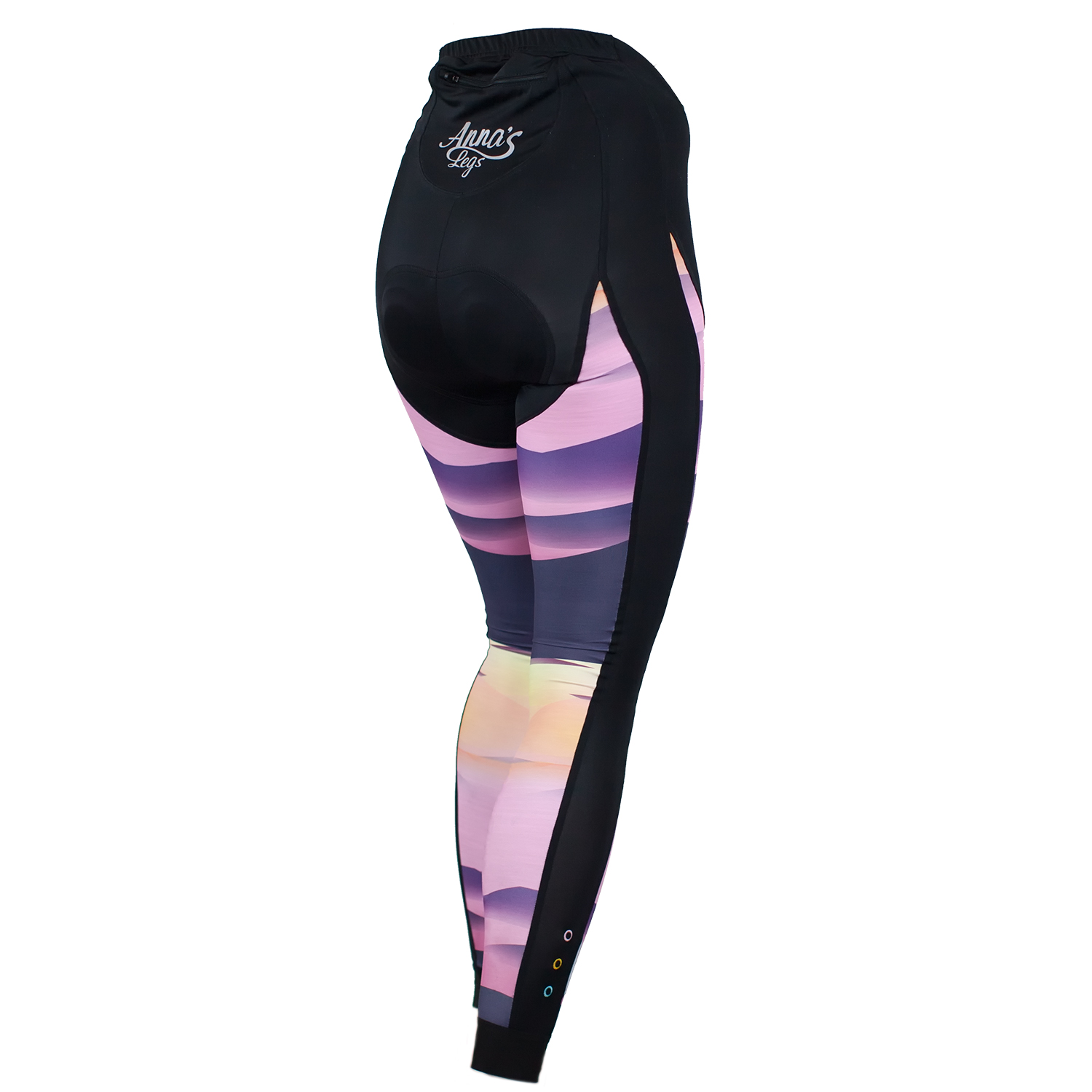 Anna's Legs Mountain Sunset Padded Leggings £89    Designer and presenter Anna Glowinski's re-emergence with the new Anna's Legs brand has been one of the highlights of the women's cycling kit year. Her new range of padded leggings has attracted rave reviews and matches technical quality and fit with unique colours and designs. Love!