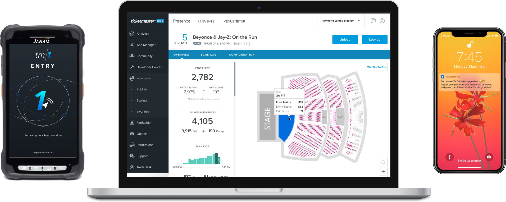 The suite of Presence products (from left-to-right): an Android scanner app retro-fitted with surrounding hardware, frontend UI called TM1 Entry with an updated dashboard displaying real-time attendance data, and messaging capabilities through the Ticketmaster app (coming soon)