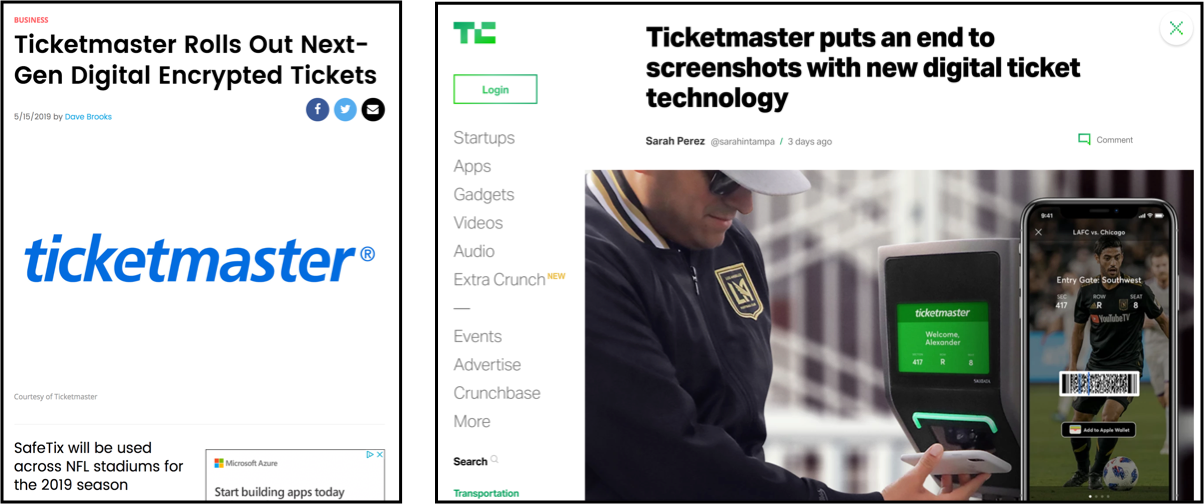 Press Releases for SafeTix, explaining the new encrypted ticketing technology to help stop scalping, a major issue in the live event industry.