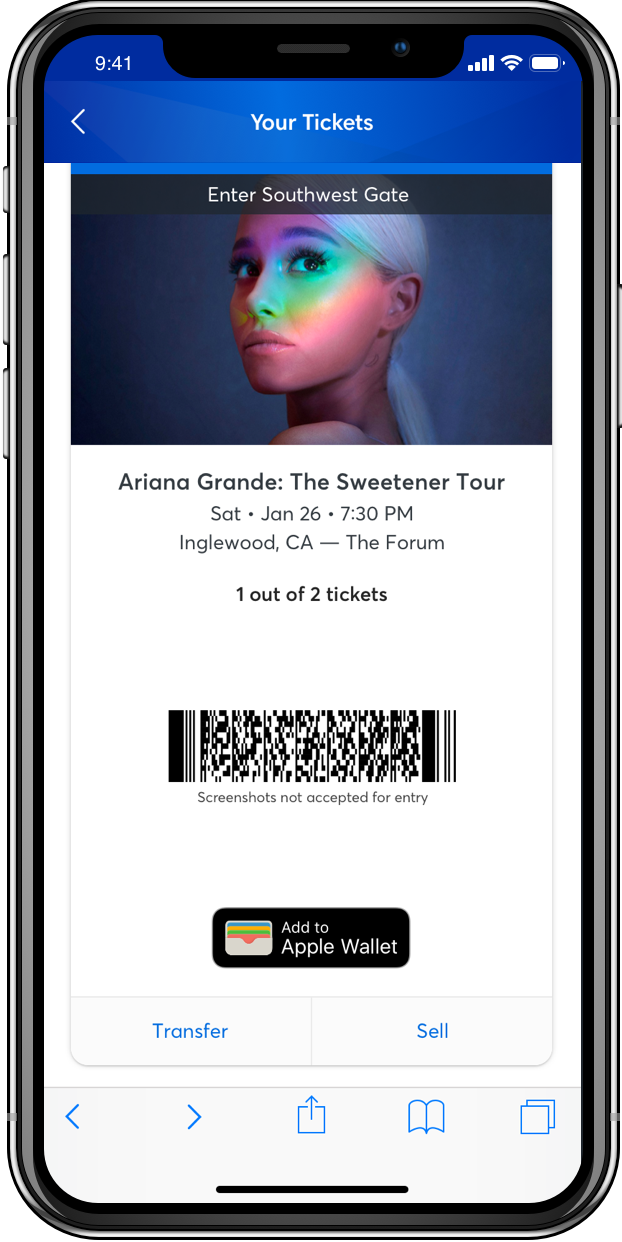 Since the blue line was not a clear indication that the fans couldn't screenshot their tickets, we decided to input contextual copy right below the barcode to tell fans that they couldn't screenshot.
