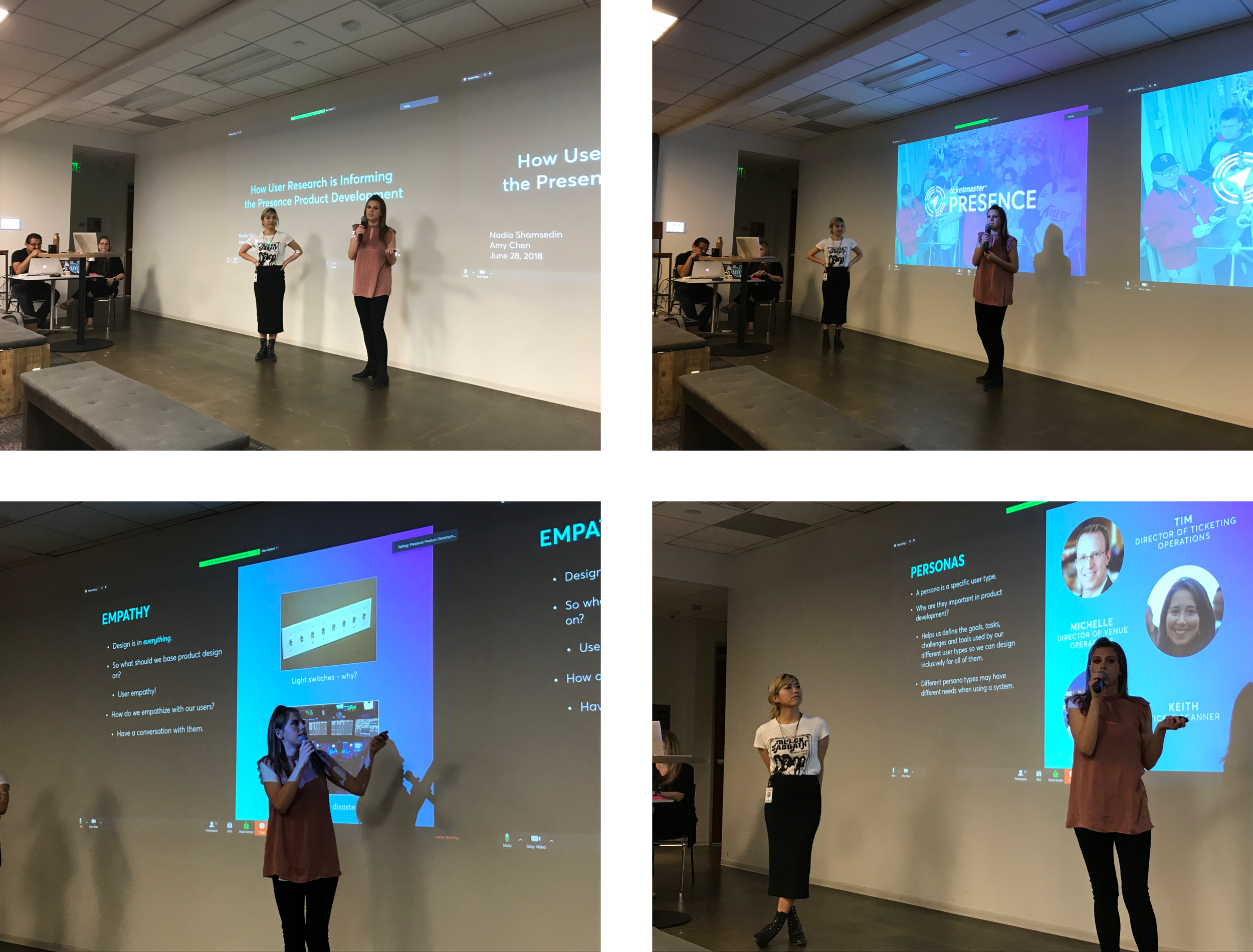 """Some images captured from our first company-wide presentation on the results of the initial round of research, entitled """"How User Research is Informing the Presence Product Development."""" We had over 100 people tune in. I also used the opportunity to evangelize what UX research is and how it will help us build better products."""