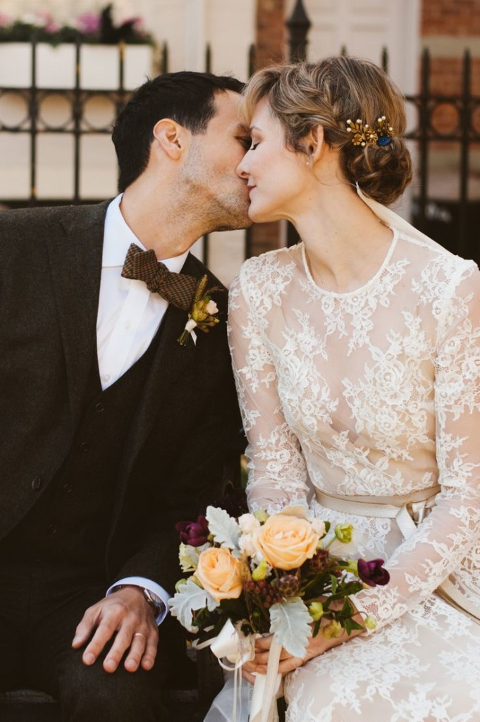 """Jill and Michael   Photography by  JBM Photography . The wedding of Jill, in SHAREEN Bridal (the """" Lea """" with sleeves), and husband Michael. Flowers by  Stem . Veil by  Ashley Lietzel Reichenbach . Venue is Cobble Hill in Brooklyn, NY."""