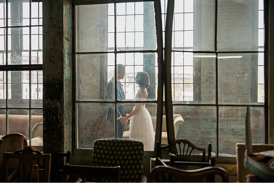 """Rebecca and Michael   Photography by  AMC Photography . The wedding of Rebecca, in SHAREEN Bridal (one-of-a-kind """" Alexa """" vintage rework), and husband Michael. Venue is  Metropolitan Building ."""