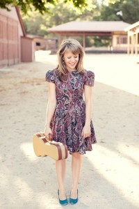 Jenny Weaver wearing a vintage dress from Shareen Downtown