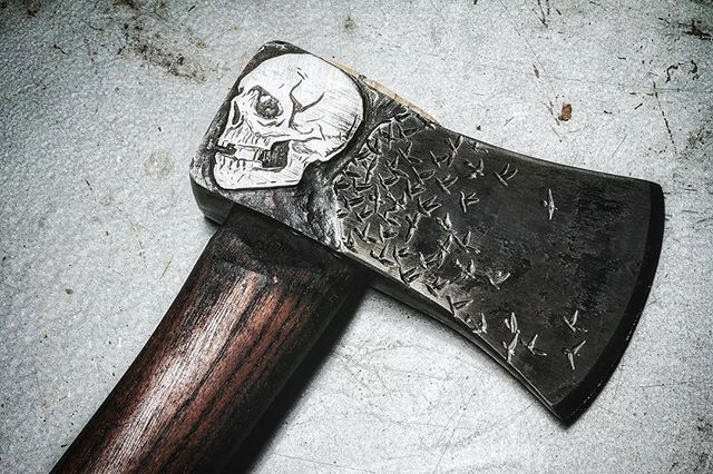 Holdfast. Channel your inner badass and throw an axe.  #axethrowing #axes #axejunkies #metalwork #woodwork #skull #birds #austin #texas #hiking #camping #gift #weddinggift #groomesmengift