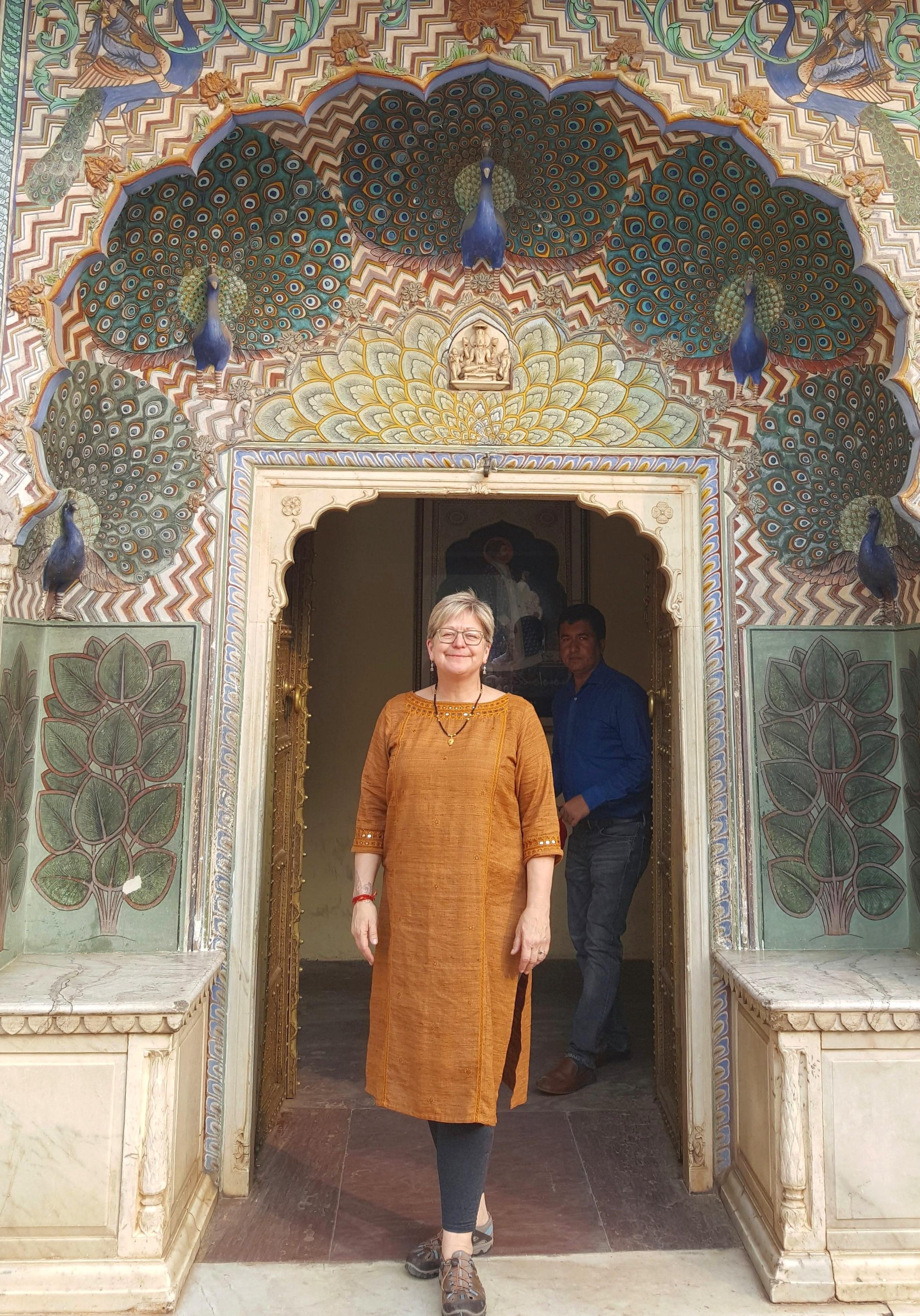 Kim Hammer, at the Jaipur City Palace Peacock Doorway