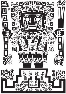 Black-and-white rendering of the central figure of the gate at Tiwanaku, Bolivia, an image developed as the MACLAS logo by past President and longtime active member, the late Professor Jack Child.