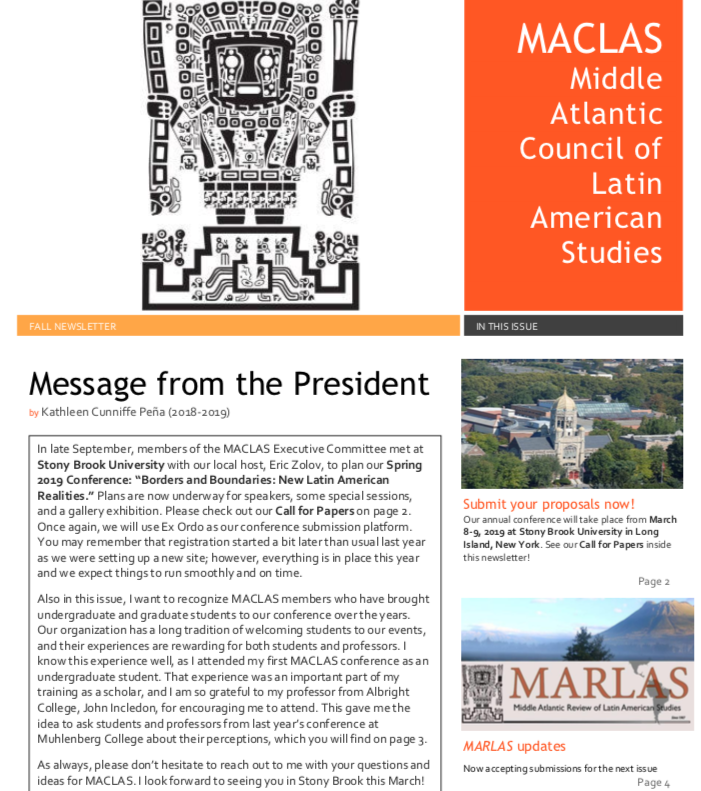 October 2018 MACLAS Newsletter