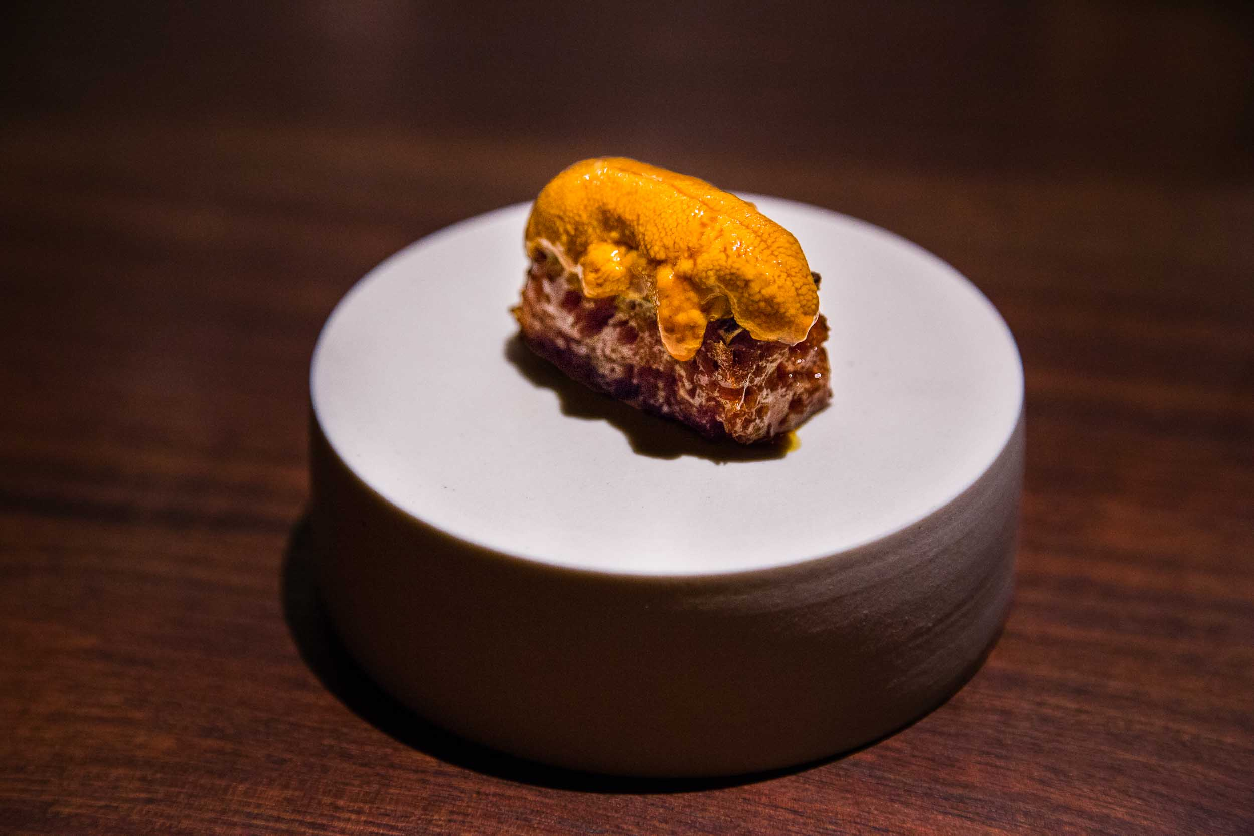 Fort Bragg sea urchin on top of 'liquid toast'. [Click image for more details]