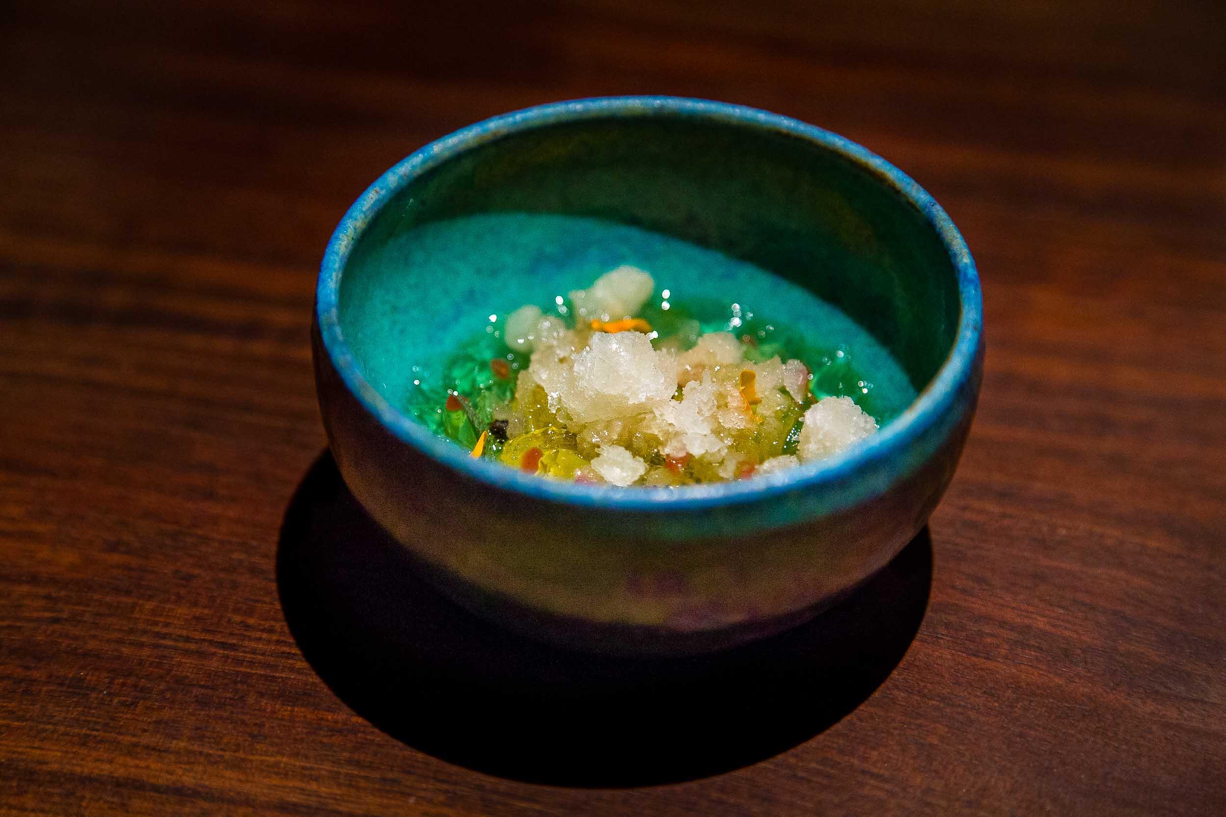 Pickles over horseradish ice, reminiscent of tsukemono.