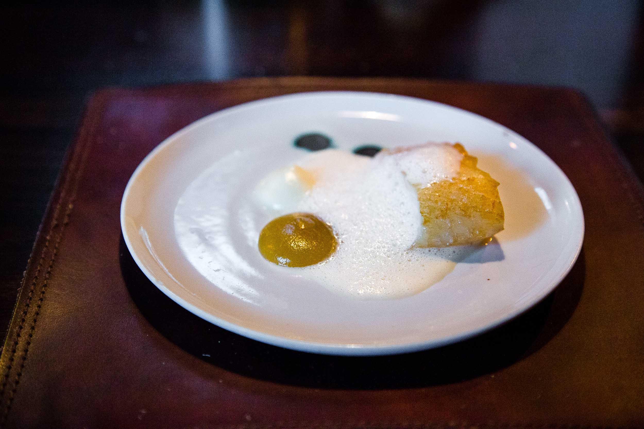 Salted cod, parsnip, apple, fried cod [bones] cream