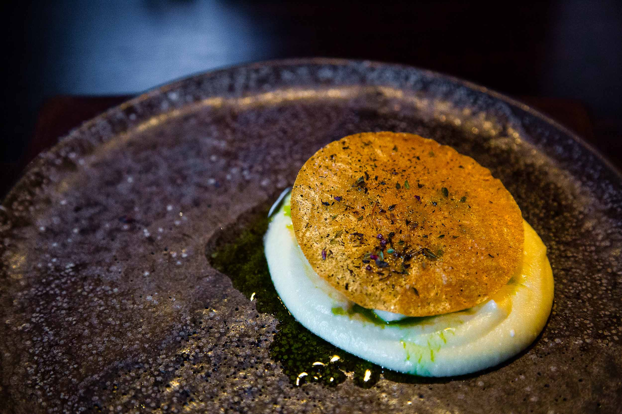 Mashed potatoes, skyr, bacalao, arctic thyme oil, and an arctic thyme crisp