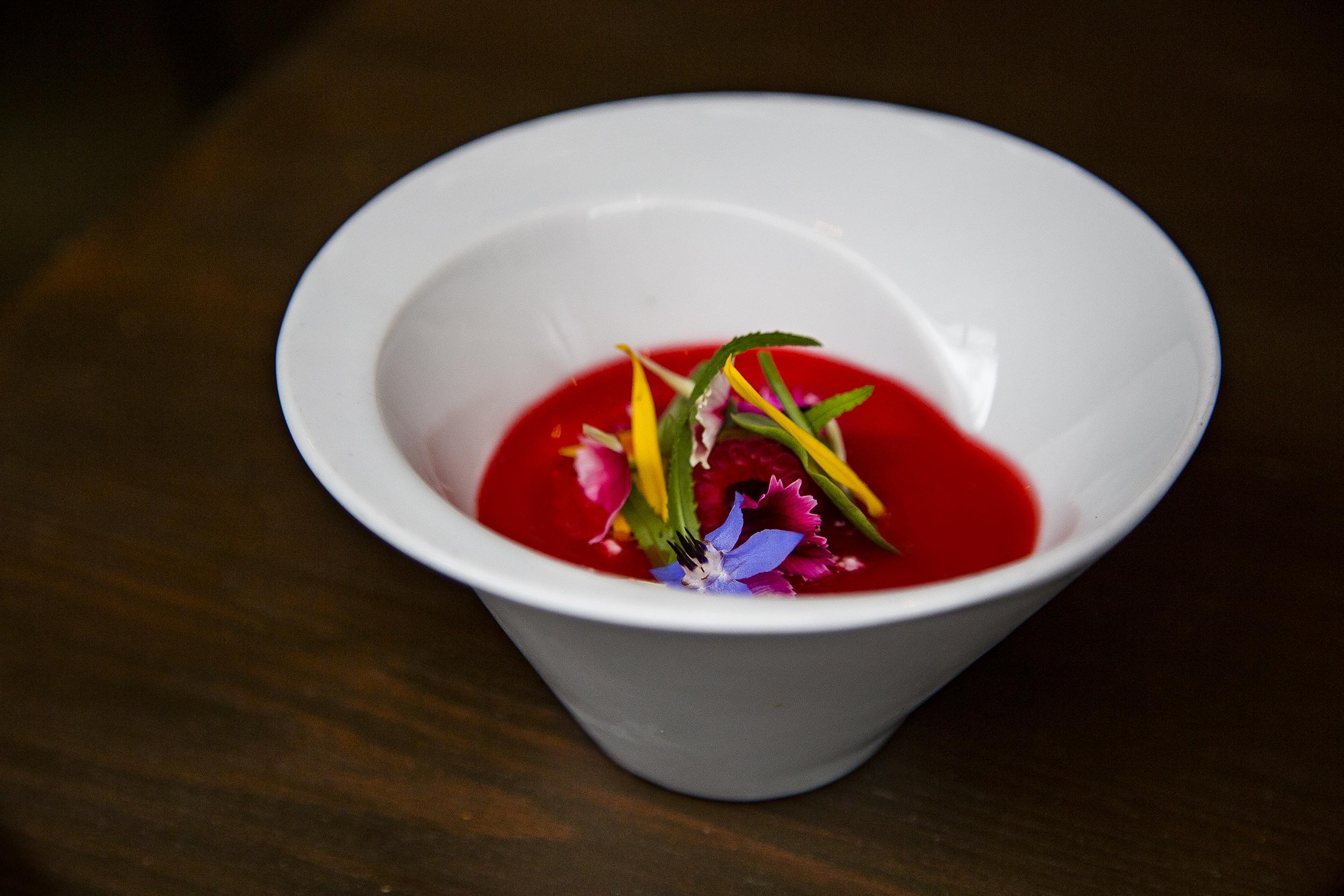 Scottish Raspberries with Strained Yogurt and Barley