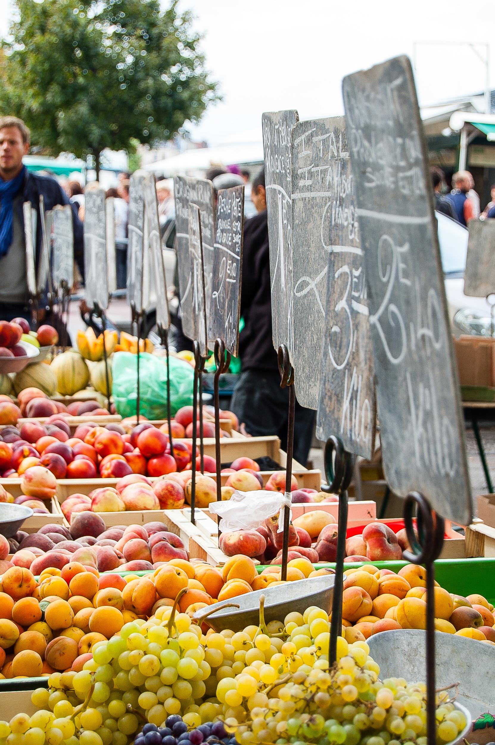 Lyon France Sunday Market Produce Fruit Signs