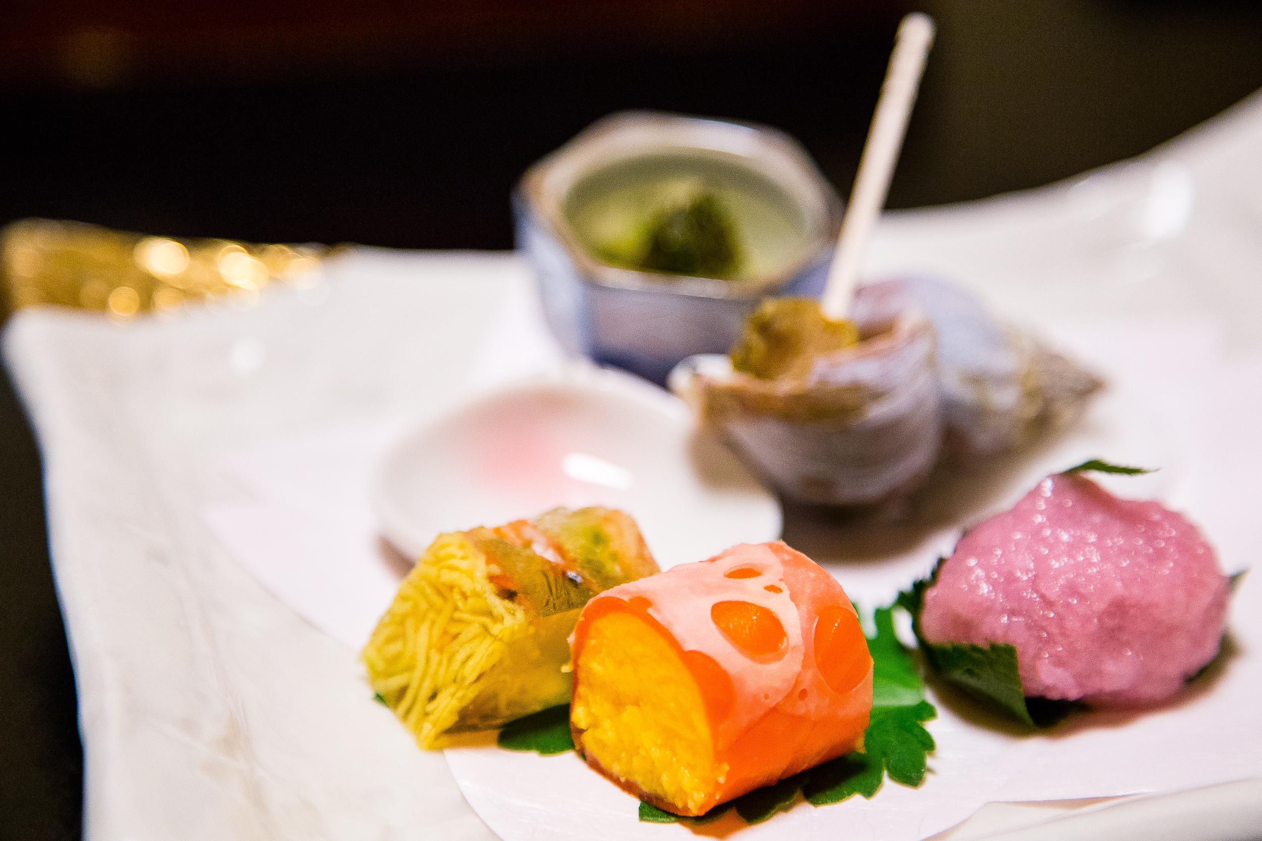 Egg? Jelly with noodles? Sea Snail. Seaweed. Sakura mochi.