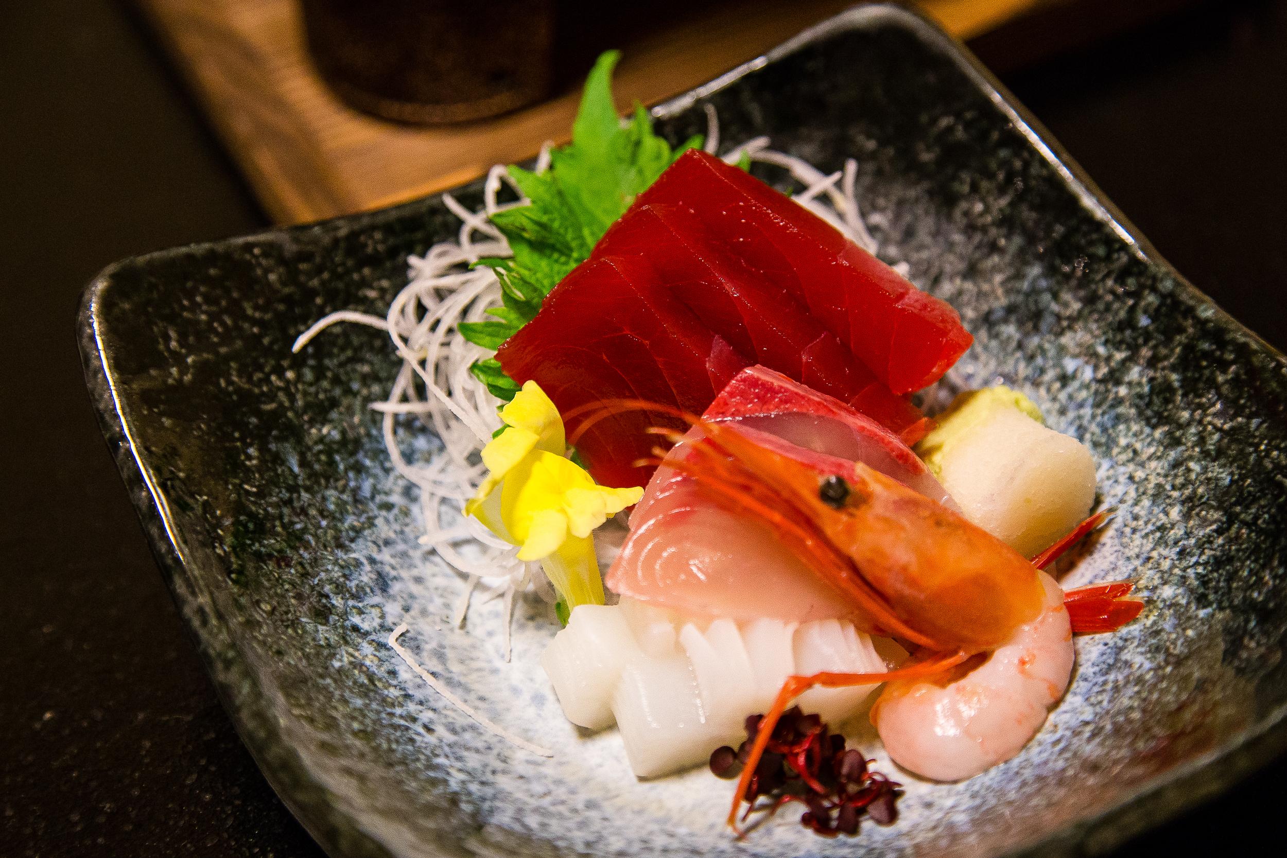 Sashimi. The bottom white is ika (squid) which was in season.
