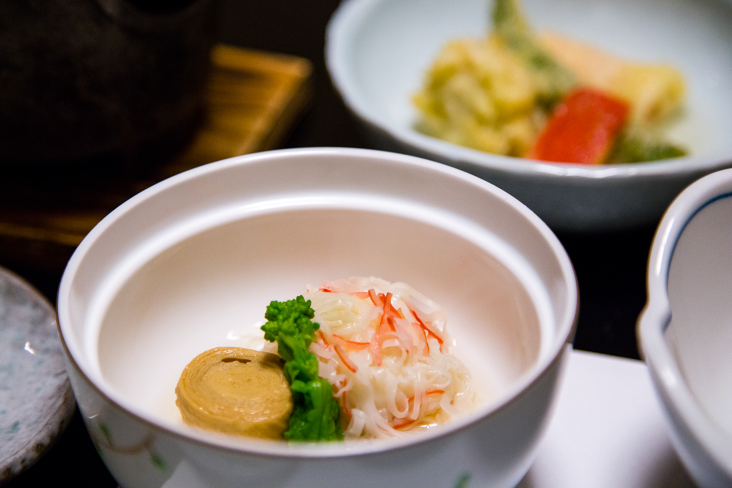 Yuba, vegetable, fish cake covered in crab?