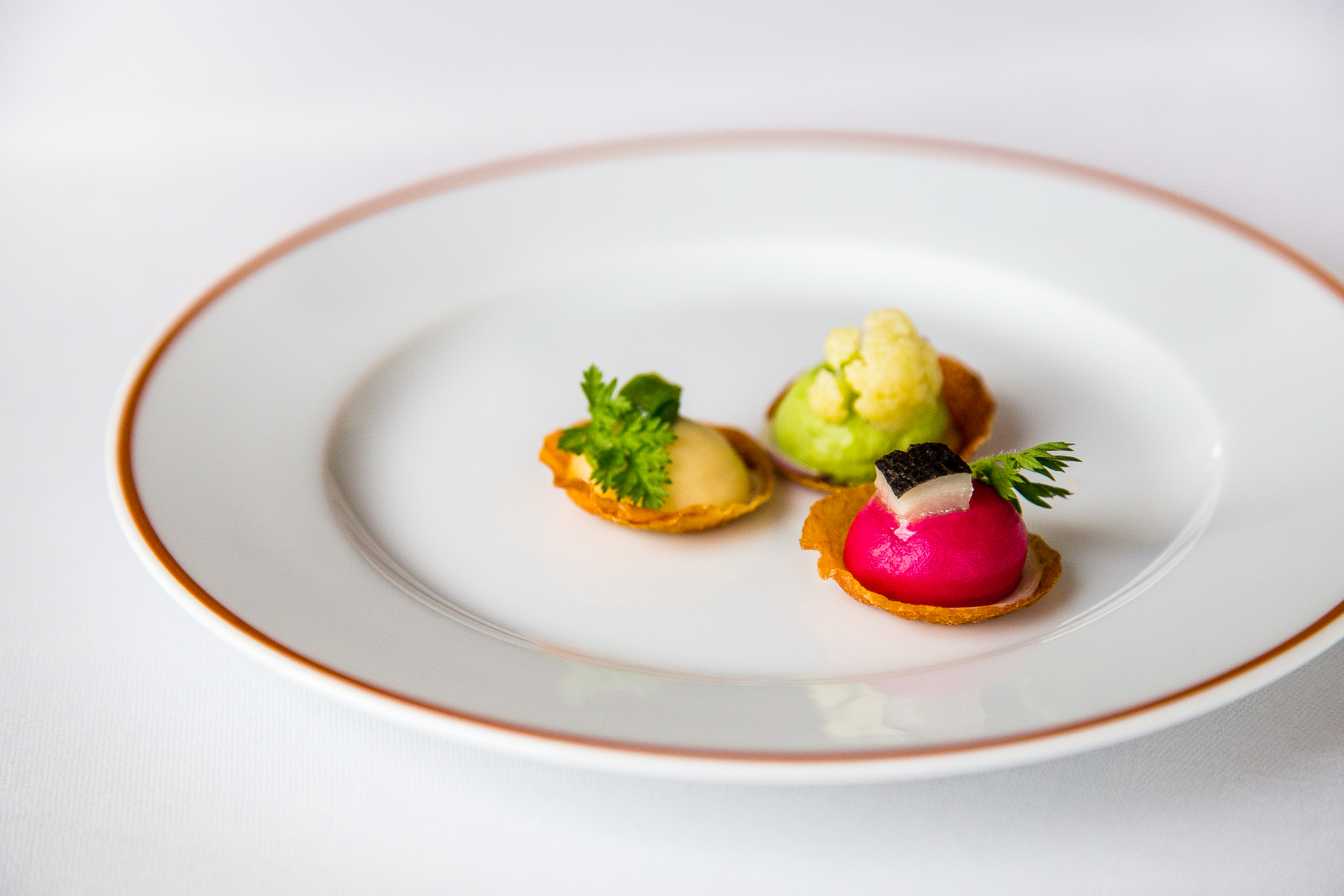 Tartelets: Beet and Lamon, Broccoli, Apple and Turnip