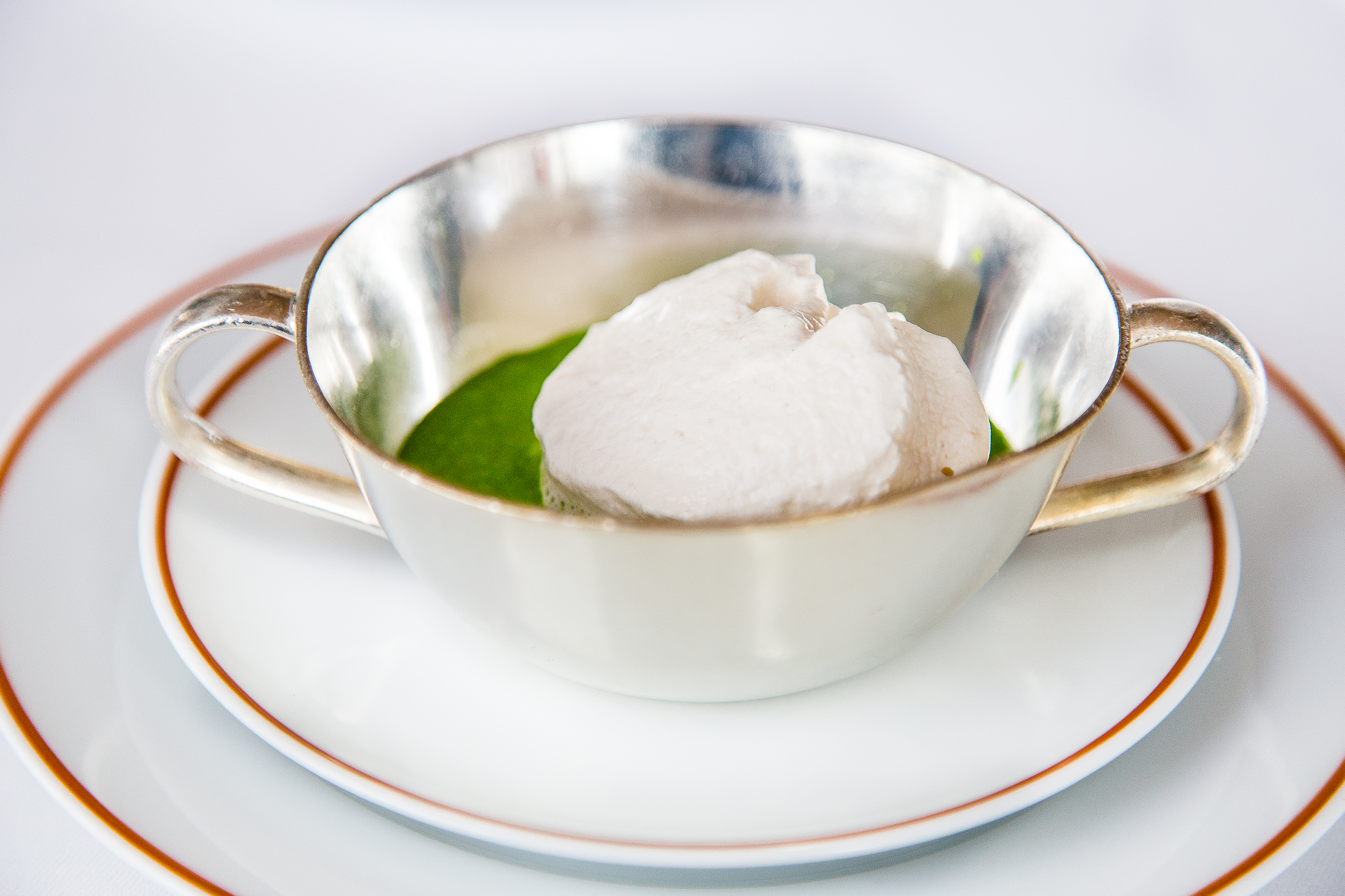 Velouté of Artichoke, Celery, and Fresh Herbs with Egg Cream