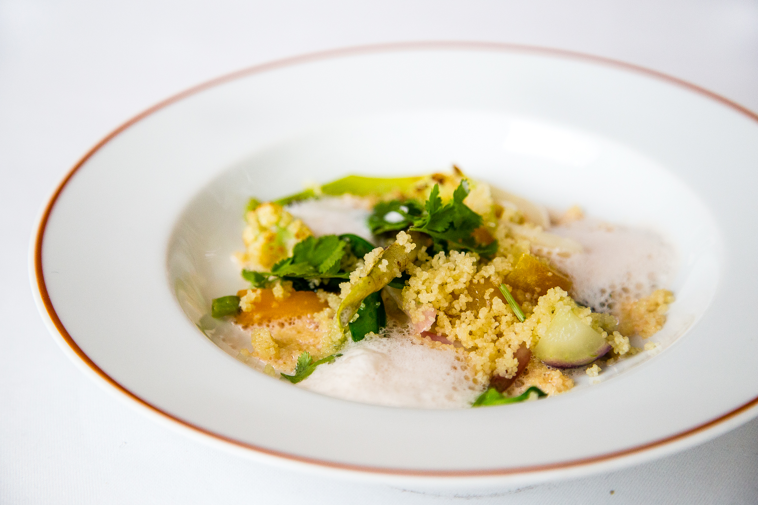 Vegetable Couscous with Rose Emulsion