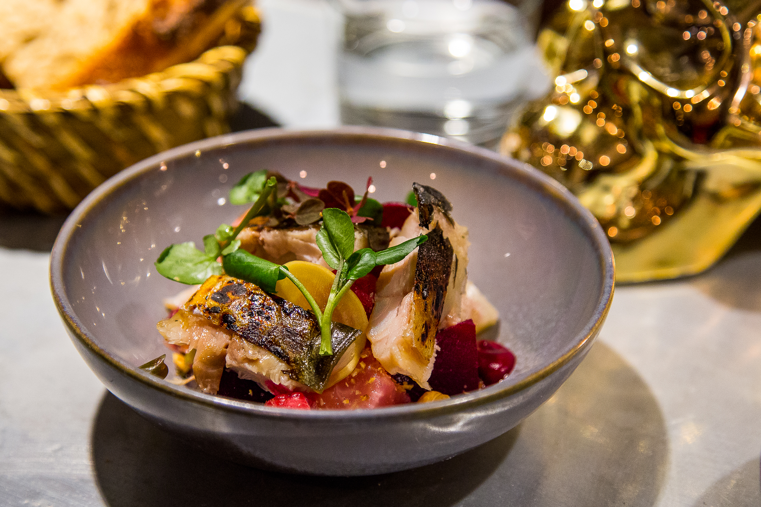 Mackerel with Beets and Cheese