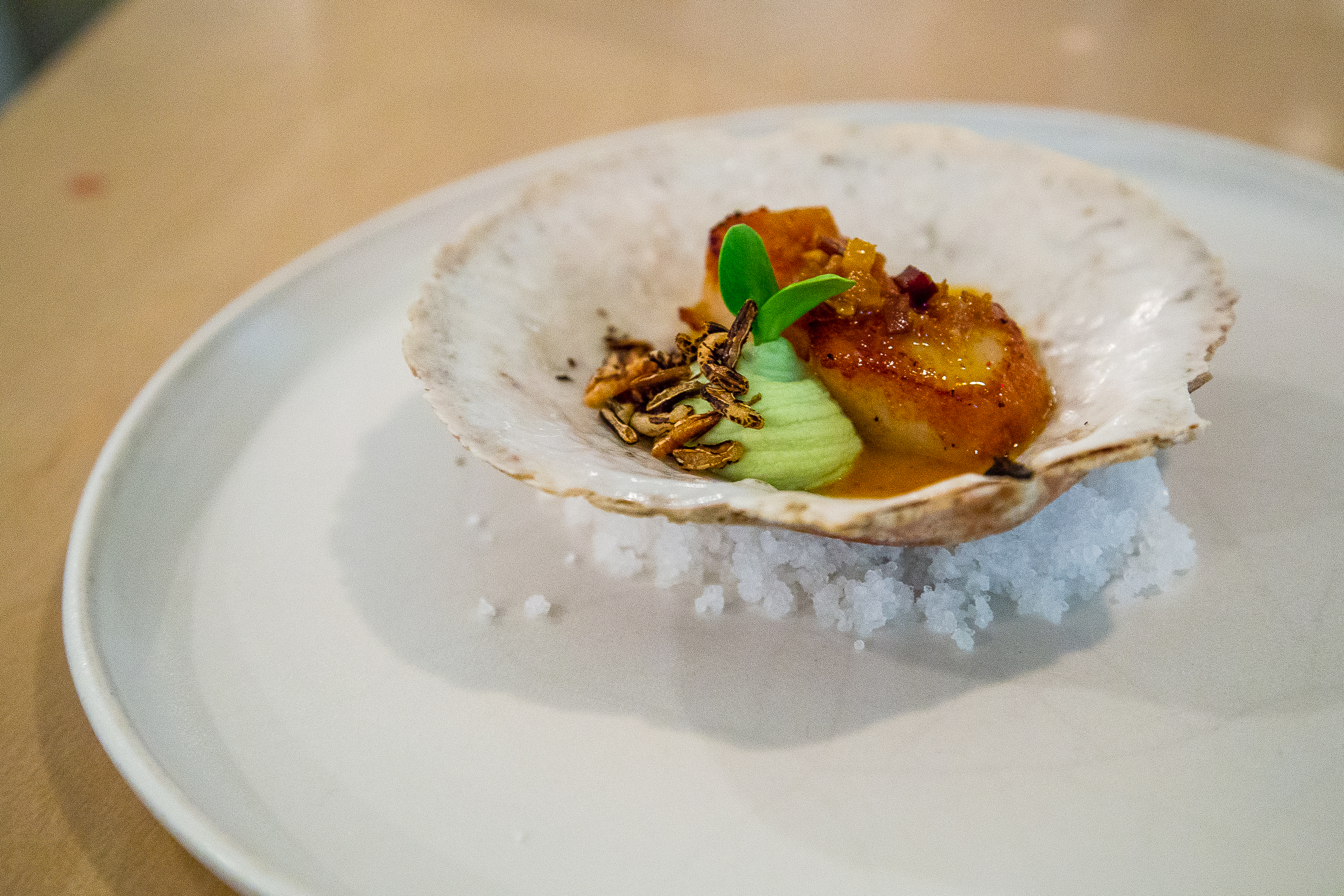 Scallop, X.O. Sauce (housemade from scallops), Edamame Purée, Wild Rice