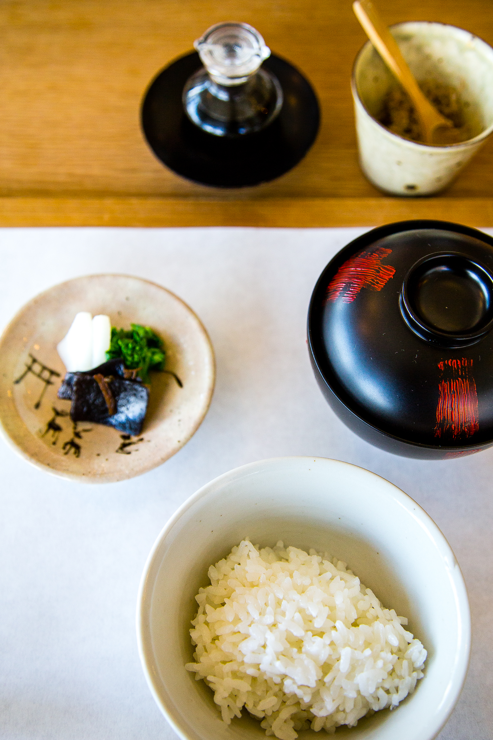 Rice, Miso Soup, Pickles