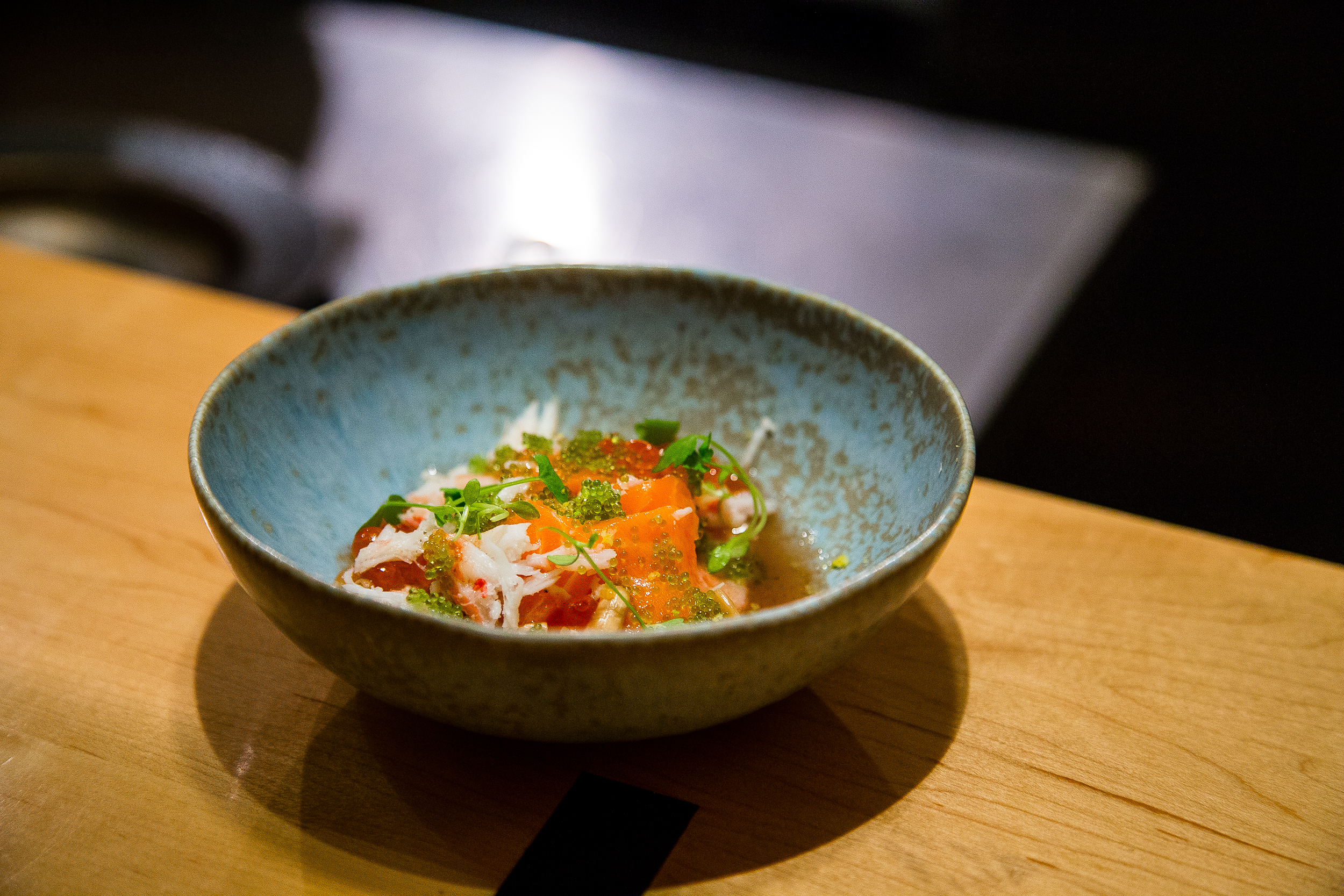Salmon, Ikura, Wasabi Tobiko, Kami