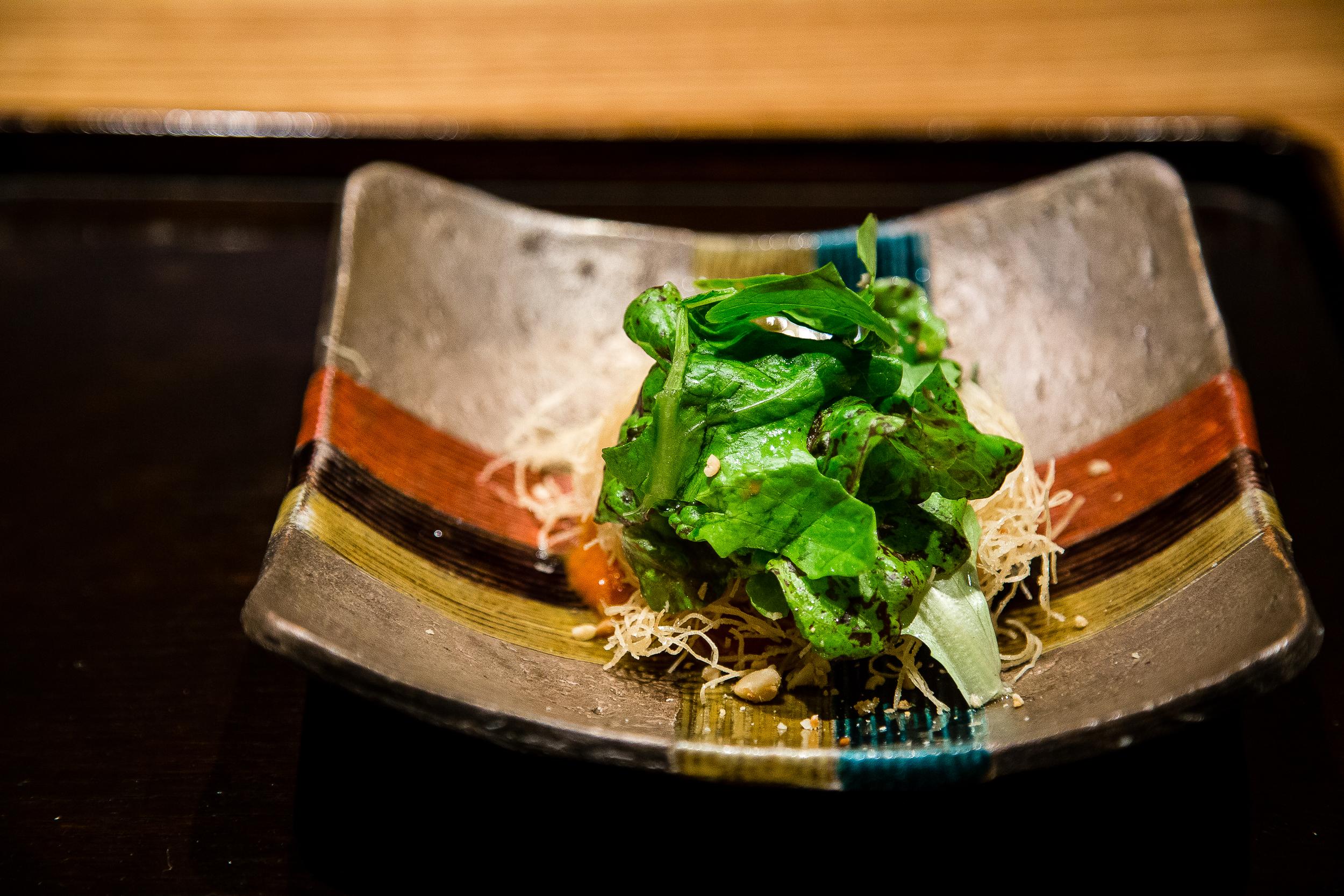 Artichoke, somen croquette with enoki, snow cabbage, lettuce, saffron, tomato