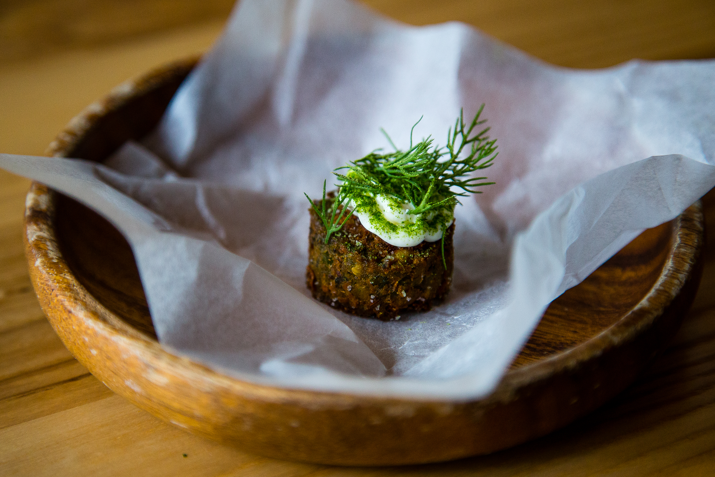 Falafel with labne(?) and dill (in place of duck parfait)