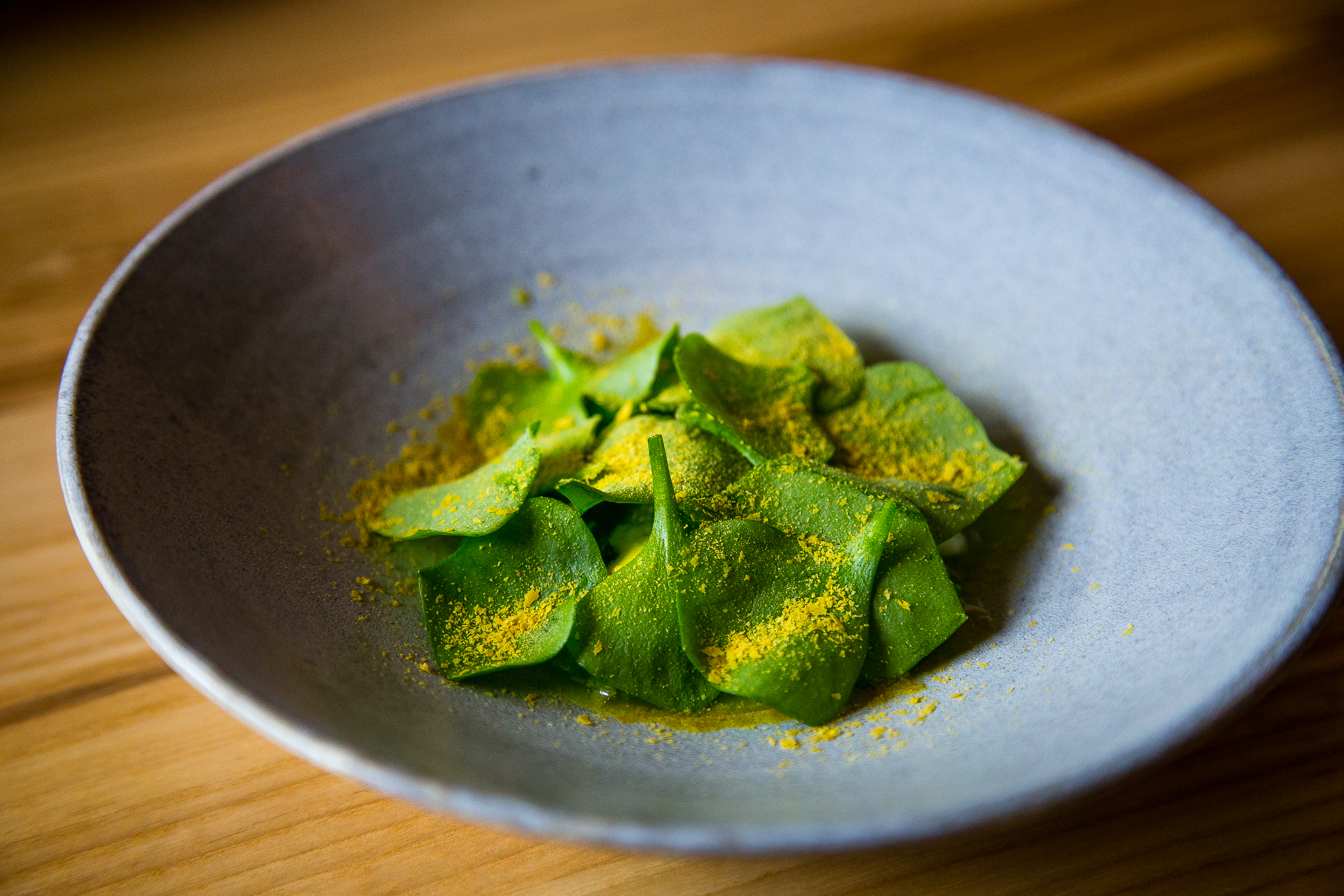 Asparagus, cheese, lemon, Miner's lettuce, nutritional yeast