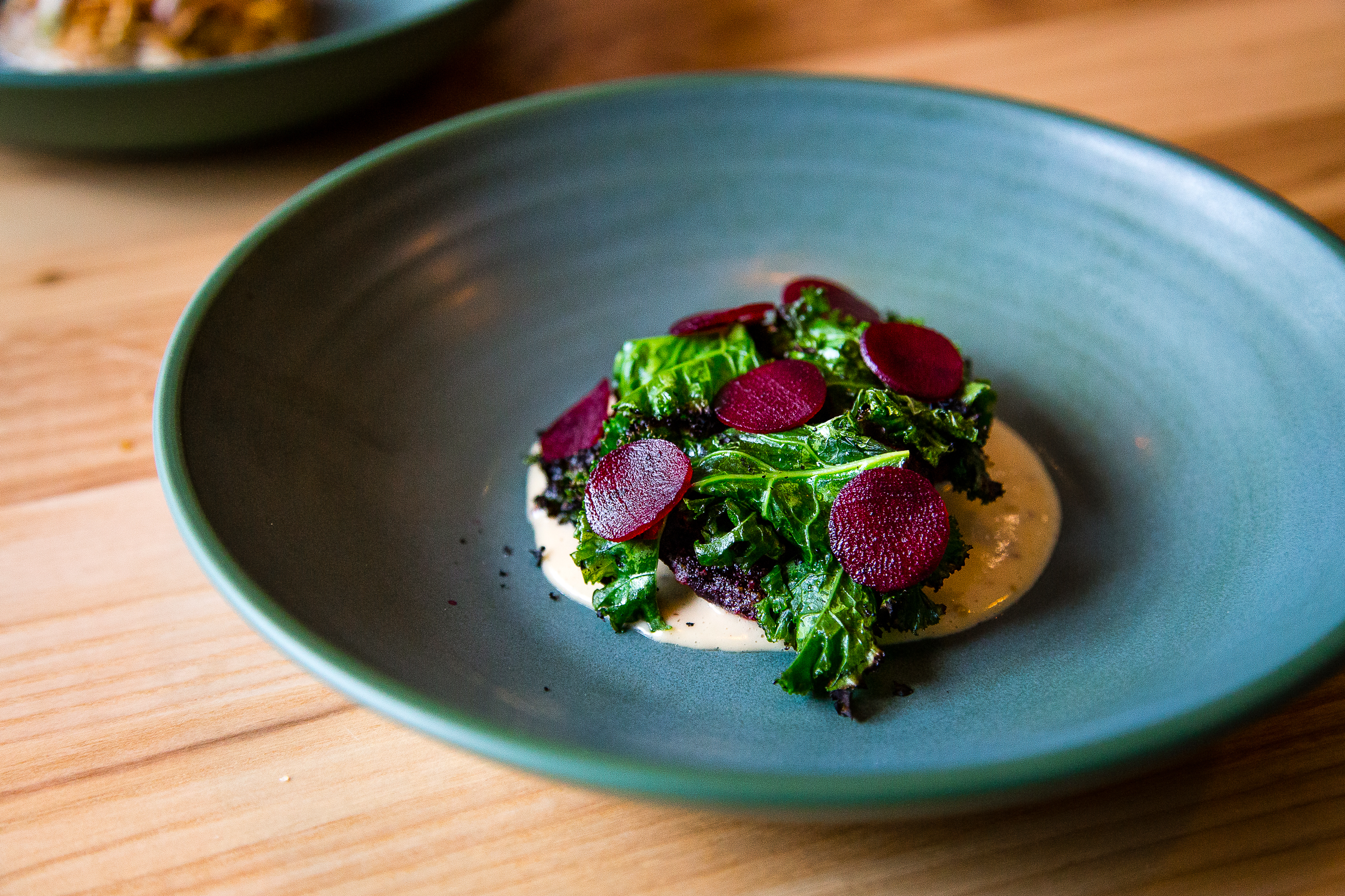 Roasted beets, charred kale, mustard (in place of duck confit)