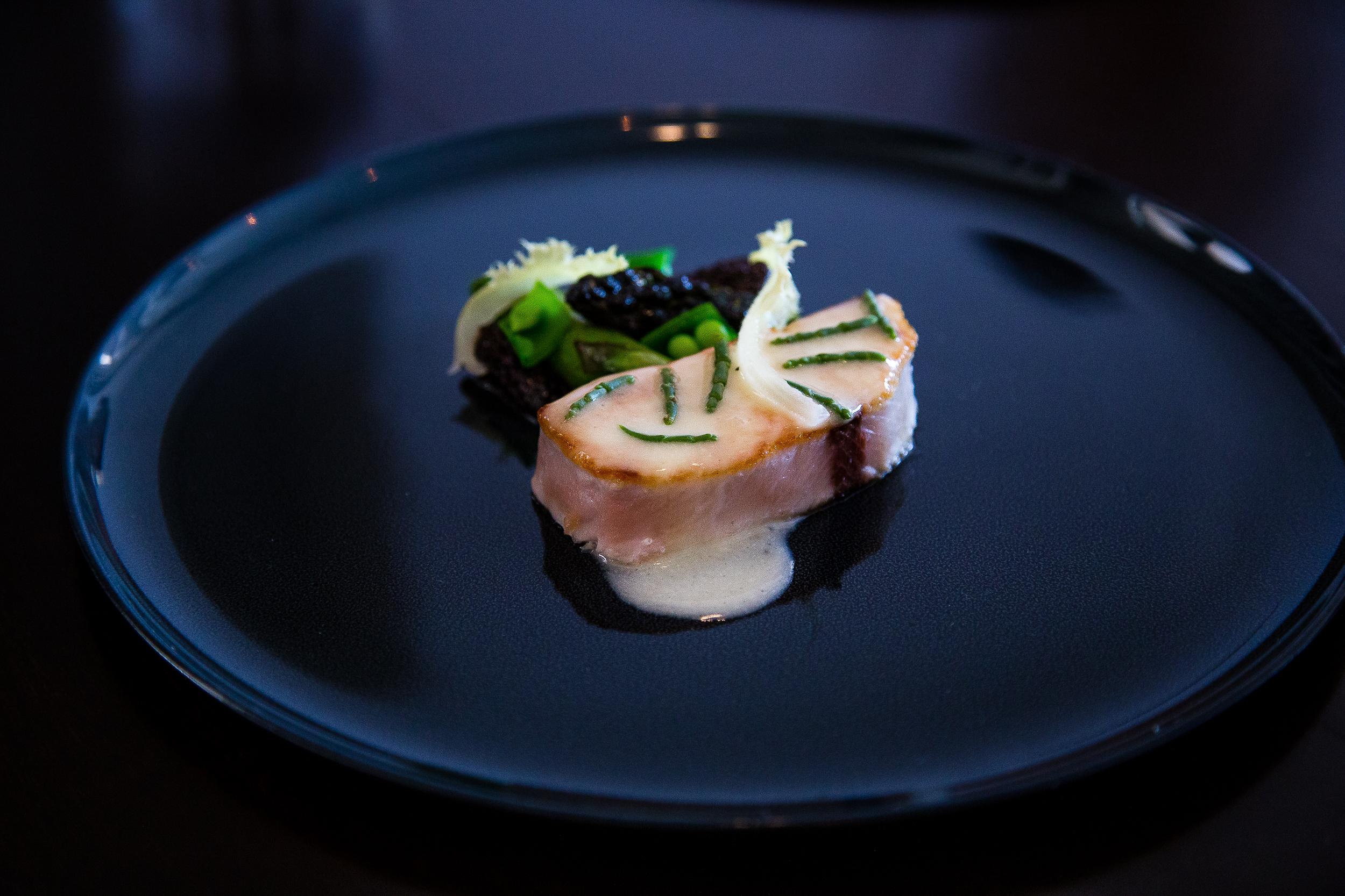 Amberjack hamachi, vermouth morels, asparagus