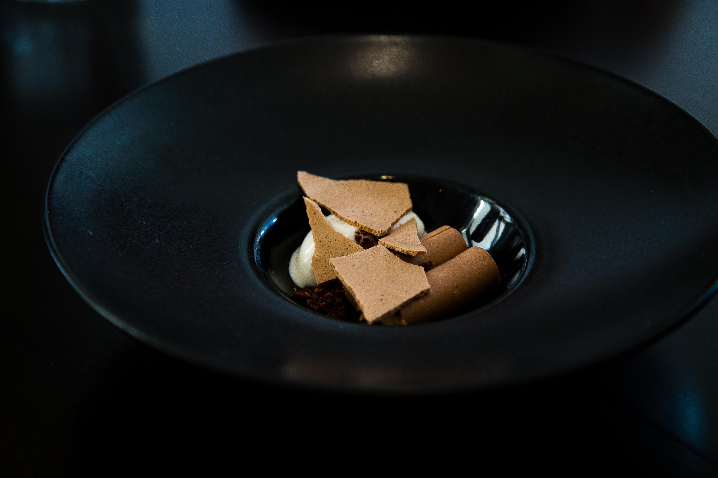 Raisin verjus, malted buckwheat ice cream, crispy buckwheat, milk chocolate mousse, crispy milk chocolate