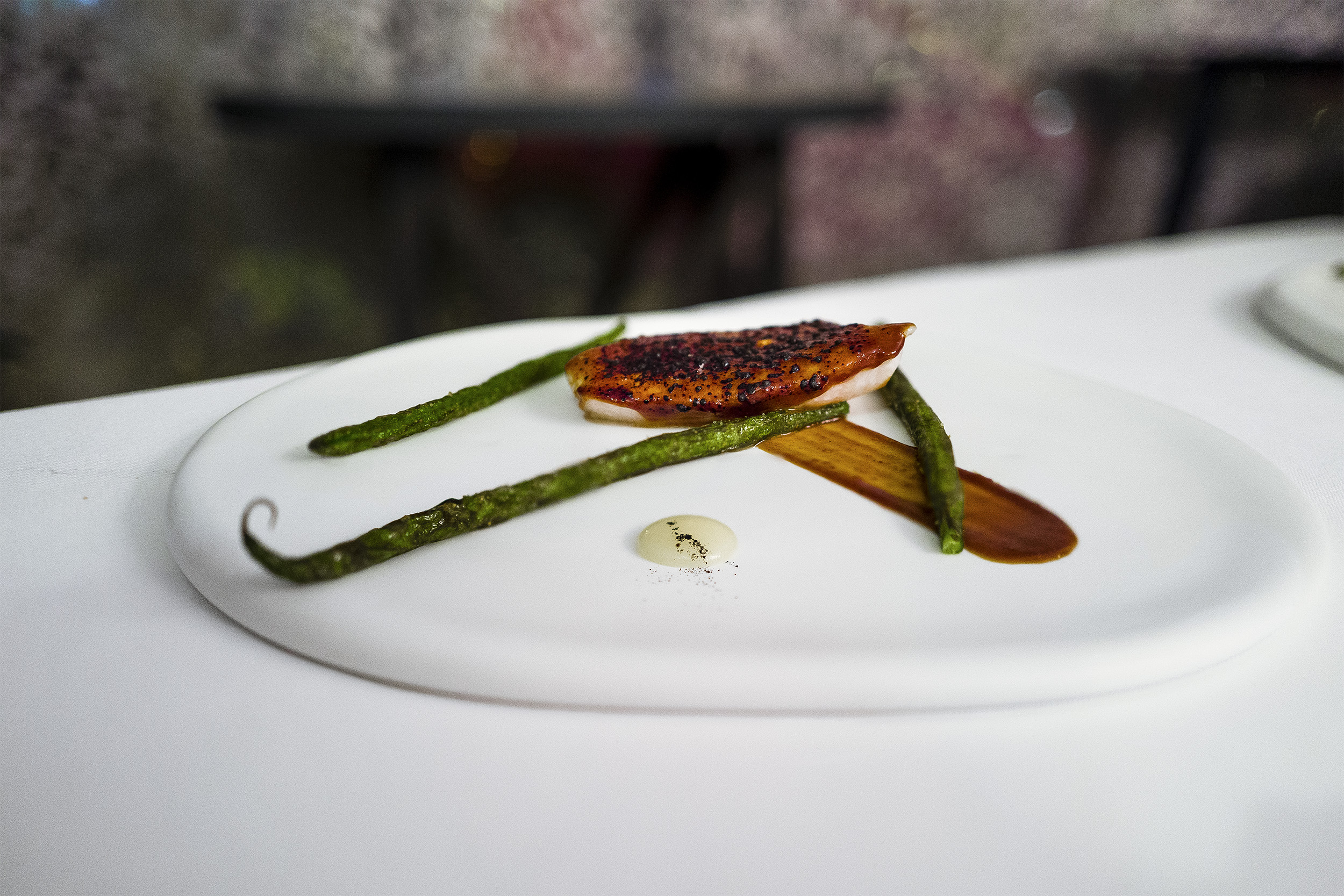 John Dory with Miso Glaze, French Beans, Lemon Sauce
