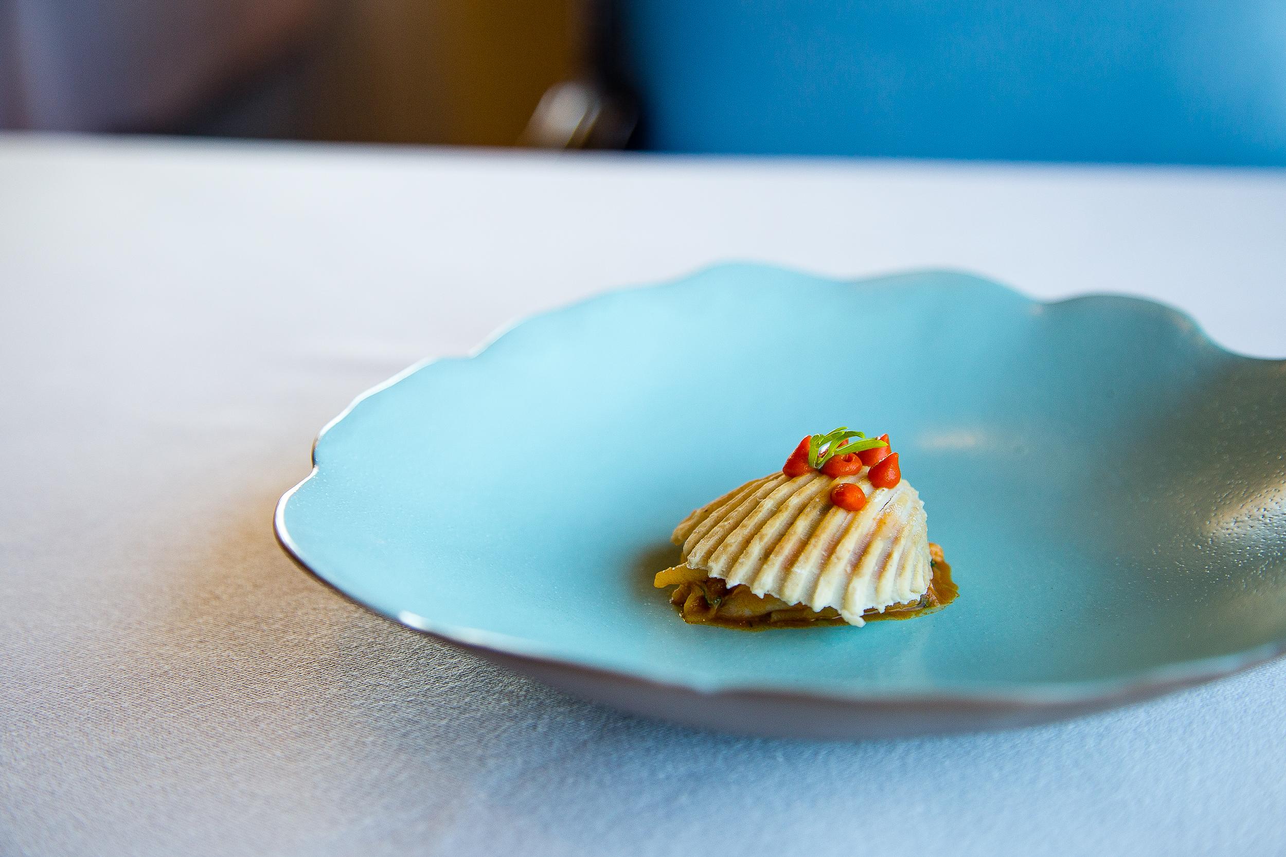 Small Pasta with Fish, Tomato Sauce Broth, Crispy Shell